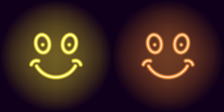 Yellow and orange neon smile. Vector illustration of funny neon emoji consisting of outlines, with backlight on the dark background
