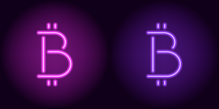 Purple and violet neon bitcoin sign. Vector silhouette of neon bitcoin currency consisting of outlines, with backlight on the dark background