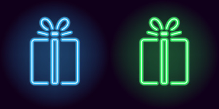 Blue and green neon gift box. Vector silhouette of neon holiday gift consisting of outlines, with backlight on the dark background