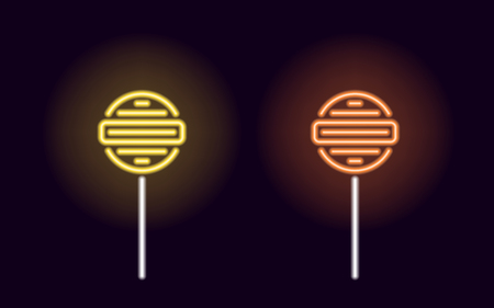 Orange and yellow neon lollipop. Vector silhouette of neon fruit lollipop consisting of outlines, with backlight on the dark background 向量圖像