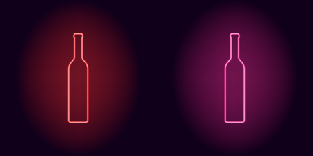 Red and pink neon wine bottle. Vector silhouette of neon bottle consisting of outline, with backlight on the dark background
