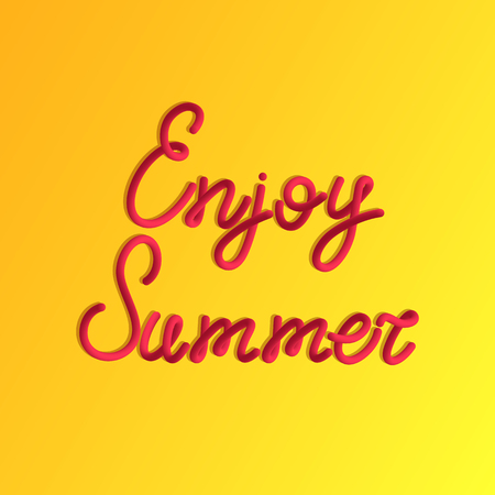 Inscription of Enjoy summer in 3d style. Vector red lettering of enjoy summer with liquid effect of gradient color in volumetric style. Isolated object with simple shadow on the yellow background Illustration