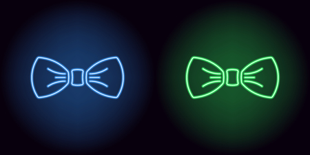 Neon bow tie in blue and green color. Vector silhouette of neon bow knot consisting of outlines, with backlight on the dark background