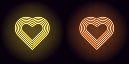 Neon heart in yellow and orange color. Vector illustration of neon heart consisting of five outlines, with backlight on the dark background