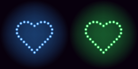 Neon dot heart in blue and green color. Vector illustration of heart consisting of neon dot, with backlight on the dark background Illustration