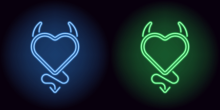 Neon devil heart in blue and green color. Vector illustration of devil heart with horns and tail, with backlight on the dark background Vectores
