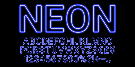Neon font in blue color. Vector collection of latin neon letters, neon alphabet consisting of outlines on the dark background