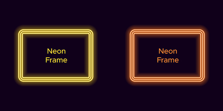 Neon rectangle frame in yellow and orange color. Vector template of neon frame consisting of three outlines, with soft backlight on the dark background Illustration