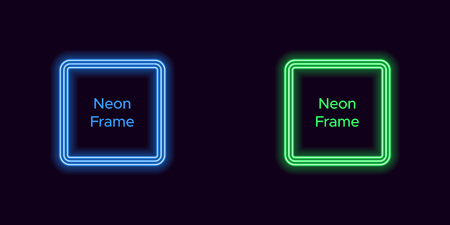 Neon square frame in blue and green color. Vector template of neon frame consisting of three outlines, with soft backlight on the dark background Illustration