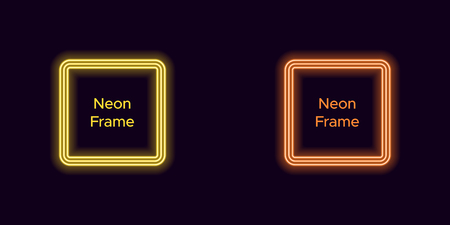 Neon square frame in yellow and orange color. Vector template of neon frame consisting of three outlines, with soft backlight on the dark background  イラスト・ベクター素材