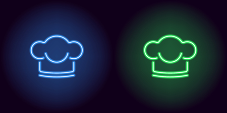 Neon Chef hat in blue and green color. Vector illustration of Chef hat consisting of neon outlines, with backlight on the dark background