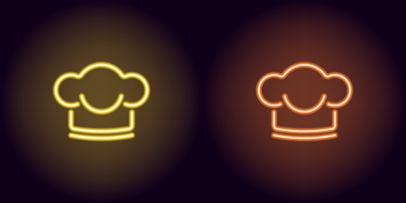 Neon Chef hat in yellow and orange color. Vector illustration of Chef hat consisting of neon outlines, with backlight on the dark background