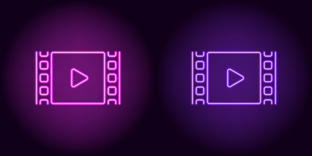 Neon cinema film in purple and violet color. Vector illustration of cinema film with Play icon consisting of neon outlines, with backlight on the dark background