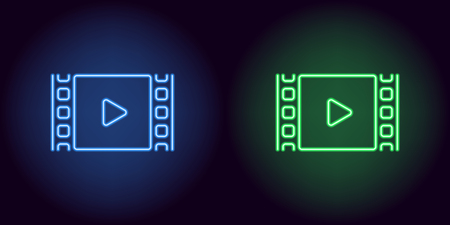 Neon cinema film in blue and green color. Vector illustration of cinema film with Play icon consisting of neon outlines, with backlight on the dark background  イラスト・ベクター素材