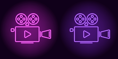 Neon cinema projector in purple and violet color. Vector illustration of cinema projector with Play icon consisting of neon outlines, with backlight on the dark background