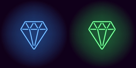 Neon diamond in blue and green color. Vector illustration of diamond consisting of neon outlines, with backlight on the dark background