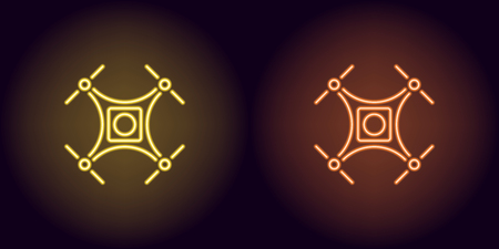 Neon drone in yellow and orange color. Vector illustration of quadrocopter consisting of neon outlines, with backlight on the dark background