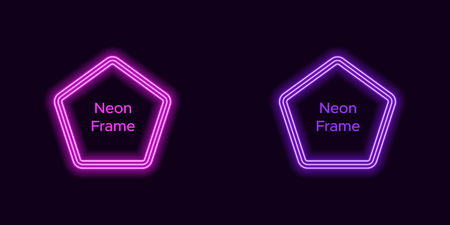 Neon pentagon frame in purple and violet color. Vector template of neon frame consisting of three outlines, with soft backlight on the dark background