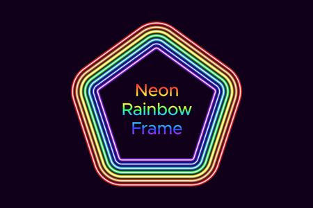 Neon pentagon frame in rainbow color. Vector template of rainbow neon frame consisting of seven outlines on the dark background