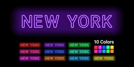 Neon name of New York city. Vector illustration of New York inscription consisting of neon outlines, with backlight on the dark background. 10 different colors