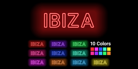 Neon name of Ibiza island. Vector illustration of Ibiza inscription consisting of neon outlines, with backlight on the dark background. Set of different colors