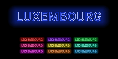 Set of Neon name of Luxembourg city Illustration