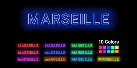 Neon name of Marseille city. Vector illustration of Marseille inscription consisting of neon outlines, with backlight on the dark background. Set of different colors 向量圖像