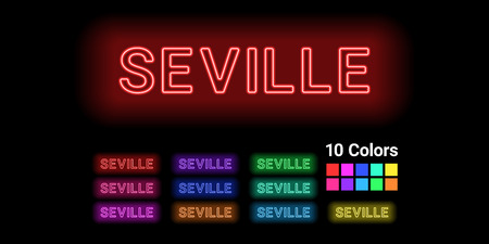 Neon name of Seville city. Vector illustration of Seville inscription consisting of neon outlines, with backlight on the dark background. Set of different colors