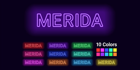 Neon name of Merida city. Vector illustration of Merida inscription consisting of neon outlines, with backlight on the dark background. Set of different colors