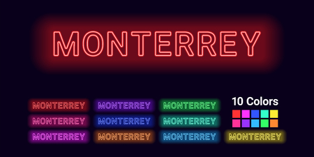 Neon name of Monterrey city. Vector illustration of Monterrey inscription consisting of neon outlines, with backlight on the dark background. Set of different colors