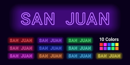 Neon name of San Juan city. Vector illustration of San Juan inscription consisting of neon outlines, with backlight on the dark background. Set of different colors