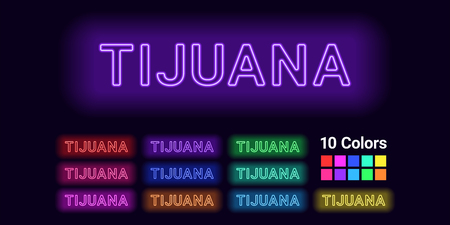 Neon name of Tijuana city. Vector illustration of Tijuana inscription consisting of neon outlines, with backlight on the dark background. Set of different colors Vectores