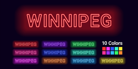 Neon name of Winnipeg city. Vector illustration of Winnipeg inscription consisting of neon outlines, with backlight on the dark background. Set of different colors