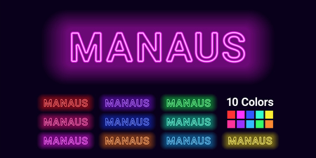 Neon name of Manaus city. Vector illustration of Manaus inscription consisting of neon outlines, with backlight on the dark background. Set of different colors