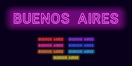 Neon name of Buenos Aires city. Vector illustration of Buenos Aires inscription consisting of neon outlines, with backlight on the dark background. Set of different colors