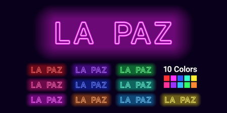 Neon name of La Paz city. Vector illustration of La Paz inscription consisting of neon outlines, with backlight on the dark background. Set of different colors