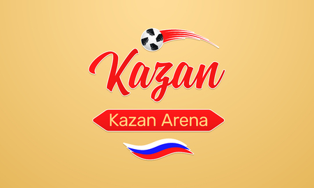 World Football Championship in Russia 2018. Vector banner with inscription of Kazan Arena in Kazan city on the World Soccer Cup in Russia