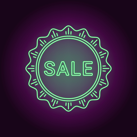 Neon banner of green Sale badge. Vector illustration of green Neon Sale Offer consisting of neon outlines and starburst frame, with backlight on the dark background