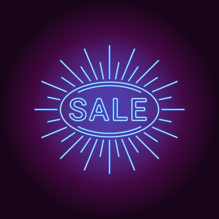 Neon banner of blue Sale badge. Vector illustration of blue Neon Sale Offer consisting of neon outlines and oval sunburst frame, with backlight on the dark background