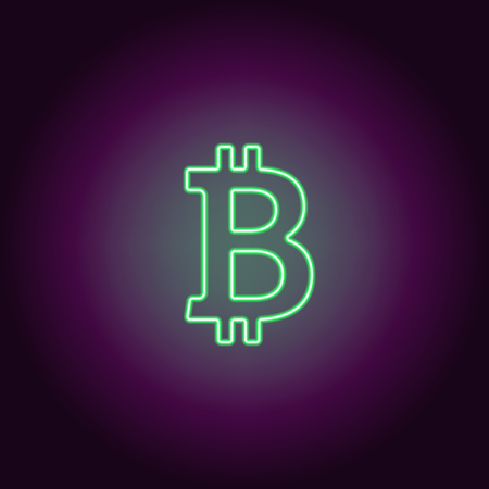 Neon icon of green Bitcoin. Vector illustration of green Neon Bitcoin consisting of neon outlines, with backlight on the dark background