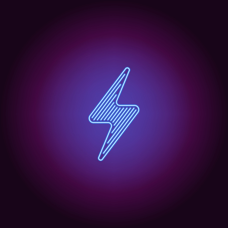 Neon icon of blue Electric Energy. Vector illustration of blue Neon Electrical Sign consisting of neon outlines, with backlight on the dark background