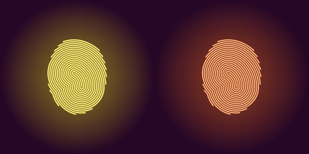 Neon icon of Yellow and Orange Fingerprint. illustration of Yellow and Orange Scanning System of User Fingerprint consisting of neon outlines, with backlight on the dark background