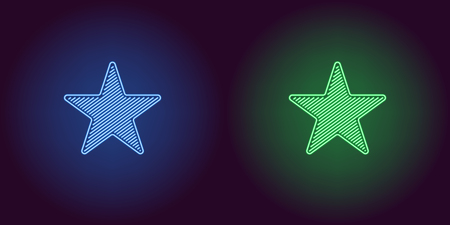 Neon icon of Blue and Green Star. illustration of Neon Star consisting of neon outlines, with backlight on the dark background  イラスト・ベクター素材