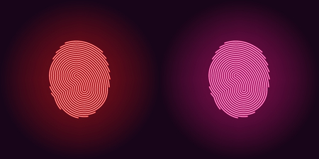 Neon icon of Red and Pink Fingerprint. illustration of Red and Pink Scanning System of User Fingerprint consisting of neon outlines, with backlight on the dark background