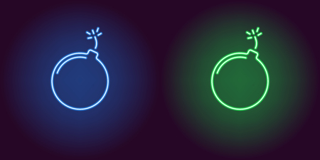 Neon icon of Blue and Green Bomb. illustration of Blue and Green Neon Bomb consisting of neon outlines, with backlight on the dark background