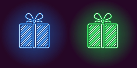 Neon icon of Blue and Green Gift Box. illustration of Neon Holiday Gift consisting of neon outlines, with backlight on the dark background
