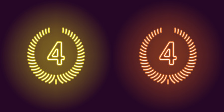 Neon icon of Yellow and Orange Fourth Place. illustration of Fourth Position consisting of neon outlines, with backlight on the dark background  イラスト・ベクター素材
