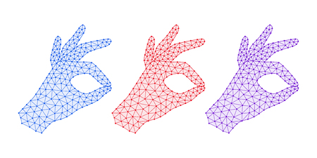 Computer Hand with line Connections, Plexuses and Knots. Vector illustration of Digital Hand Projection with gesture of Okay. Silhouette with Bold lines, outlines and knots