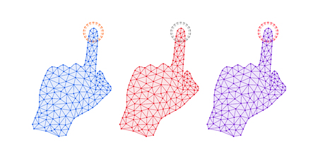 Technology Hand with line Connections, Plexuses and Knots. Vector illustration of Digital Hand Projection, which Touch by forefinger of Interface. Silhouette with Bold lines, outlines and knots