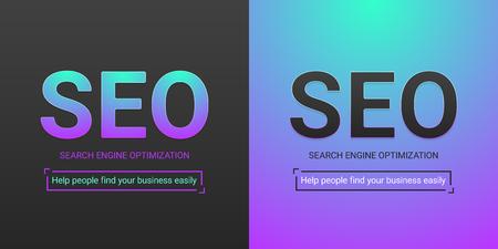 Banner of Search Engine Optimization. Vector illustration of SEO inscription. Color palette contains black color, turquoise-violet gradient